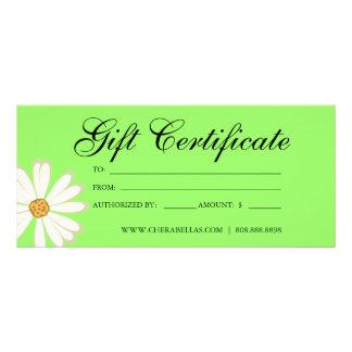Gift Certificates Salon Daisy Flower lime green Customised Rack Card