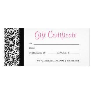 Gift Certificates Salon Spa Pink Damask Frame Custom Rack Card