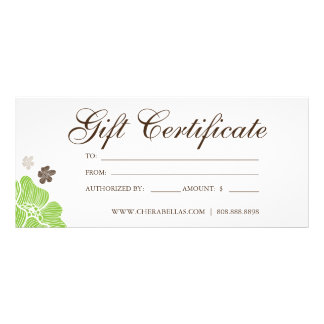 Gift Certificates Salon Tropical Flower lime green