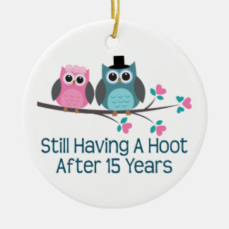 Gift For 15th Wedding Anniversary Hoot Ceramic Ornament