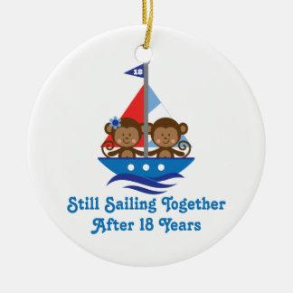 Gift For 18th Wedding Anniversary Monkeys Ceramic Ornament
