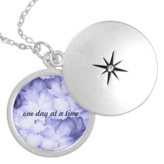 Gift for AA member locket purple One day at a time