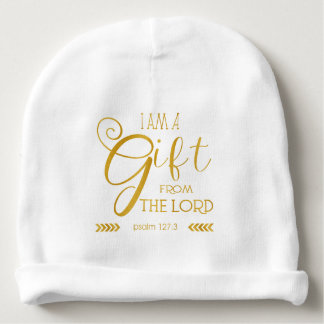 Gift from the Lord, Gold Font Baby Beanie