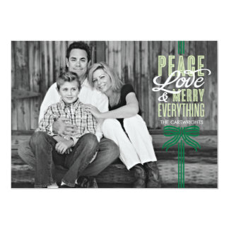 Gift Green Ribbon Wrapped Holiday Photo Card 13 Cm X 18 Cm Invitation Card