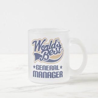 Gift Idea For General Manager (Worlds Best) Frosted Glass Coffee Mug