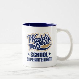 Gift Idea For School Superintendant (Worlds Best) Two-Tone Coffee Mug