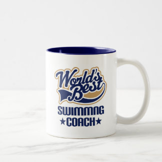 Gift Idea For Swimming Coach (Worlds Best) Two-Tone Coffee Mug