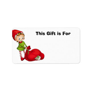 Gift Label Stickers with Adorable Little Elf Address Label