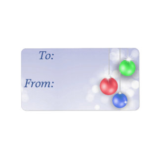 Gift Labels - Red Green Blue Ornaments