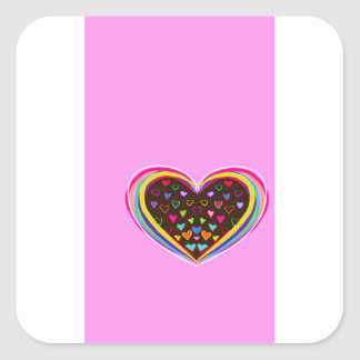 Gift packing materials with colourful heart print square sticker
