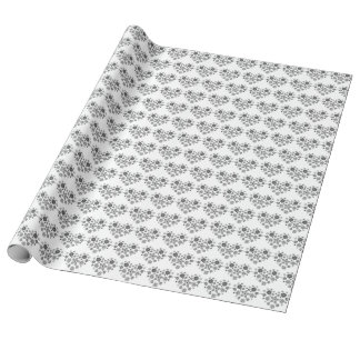 Gift paper of hearts in black-and-white
