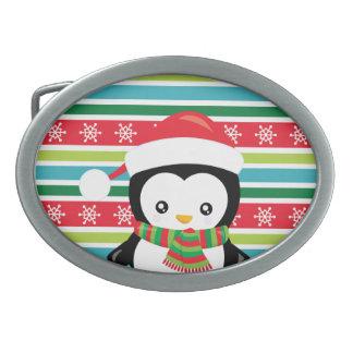 Gift Penguin on striped snowflake background Belt Buckles