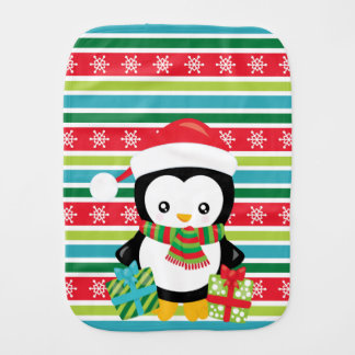 Gift Penguin on striped snowflake background Burp Cloth