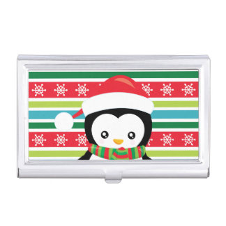 Gift Penguin on striped snowflake background Business Card Holder
