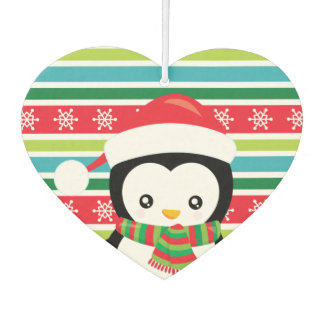 Gift Penguin on striped snowflake background Car Air Freshener