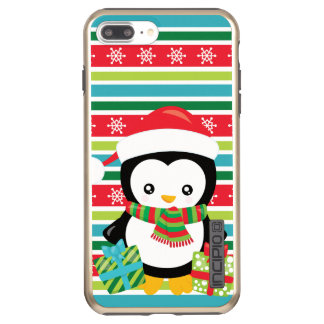Gift Penguin on striped snowflake background Incipio DualPro Shine iPhone 8 Plus/7 Plus Case
