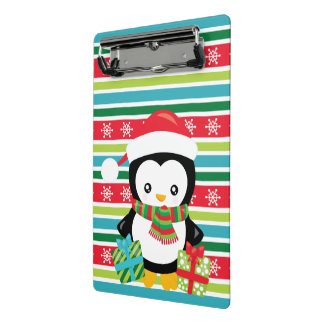 Gift Penguin on striped snowflake background Mini Clipboard