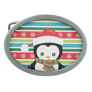 Gift Penguin on striped snowflake background Oval Belt Buckle