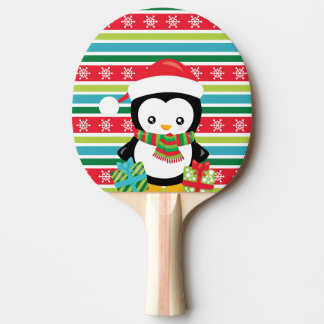 Gift Penguin on striped snowflake background Ping Pong Paddle