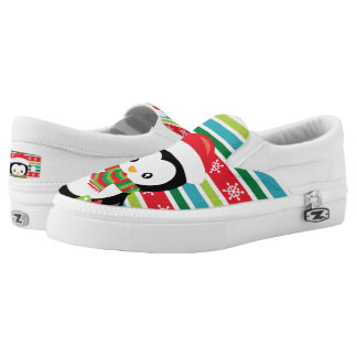 Gift Penguin on striped snowflake background Slip On Shoes