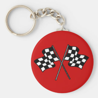 Gift ~ Racing Fans Black & White checkered flags Basic Round Button Key Ring