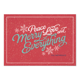 "Gift Red Ribbon Script Holiday Card 5"" X 7"" Invitation Card"