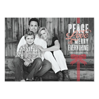 """Gift Red Ribbon Wrapped Holiday Photo Card 5"""" X 7"""" Invitation Card"""