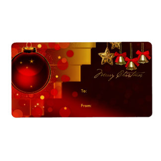 Gift Tag Christmas Label Xmas Gold Red Shipping Labels