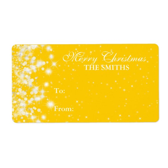 Gift Tag Elegant Winter Sparkle Yellow Shipping Label