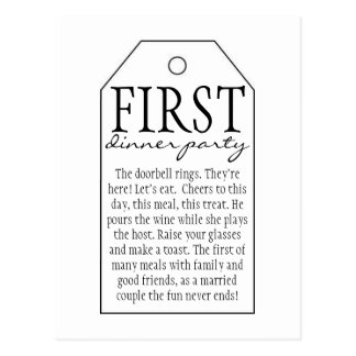 Gift Tag for Wine Bottle - First Dinner Party Postcard