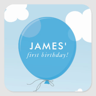 GIFT TAG LABEL cute bold blue balloon blue sky