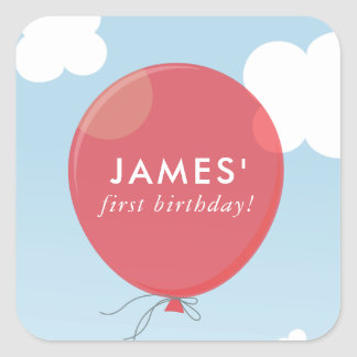 GIFT TAG LABEL cute bold red balloon blue sky