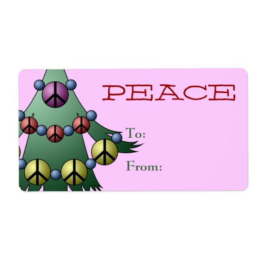 Gift Tag Label Template To/From Christmas Tree