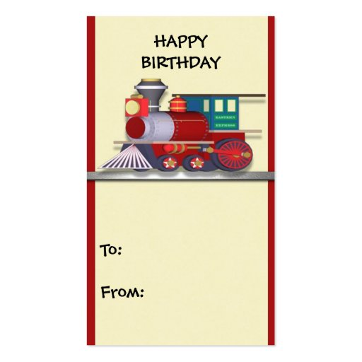 Gift Tag Train Happy Birthday Business Card Template