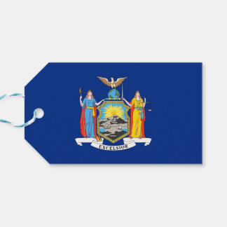 Gift Tag with Flag of New York State, USA