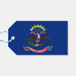 Gift Tag with Flag of North Dakota State, USA