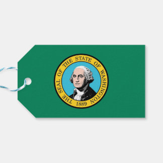 Gift Tag with Flag of Washington State, USA