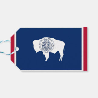 Gift Tag with Flag of Wyoming State, USA