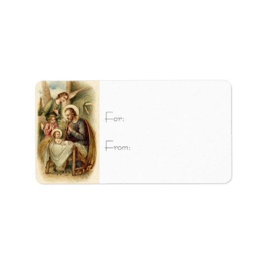 Gift Tags: St. Joseph Nativity Label