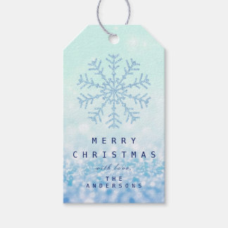 Gift To Blue Snow Flakes Tiffany Ice Glitter Navy Gift Tags