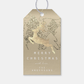 Gift To Reindeer Ivory Sepia Gold Christmas Tree Gift Tags