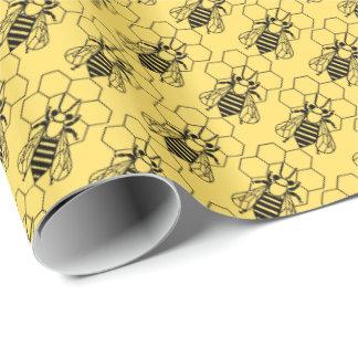 Gift Wrap - Bee on Honeycomb