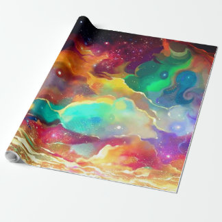 Gift Wrap Colorful Liquid Outer Space Galaxy