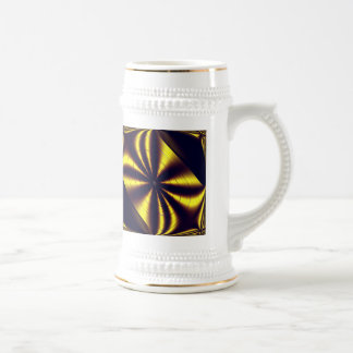 Gift Wrapped Gold Trim White Stein Beer Steins