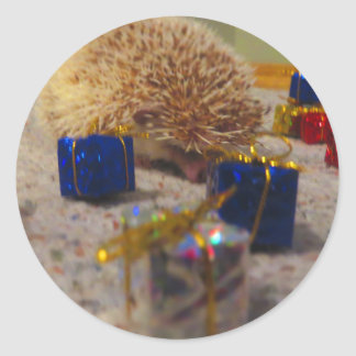 Gift Wrapping Hedgehog Funny Sticker