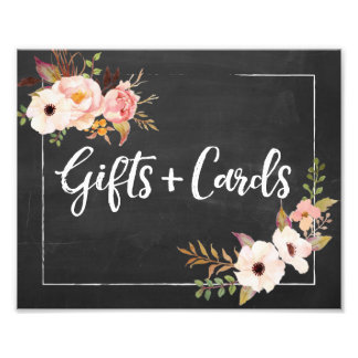 Gifts and Cards Rustic Floral Wedding Sign