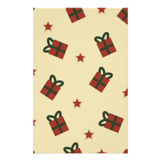 Gifts and stars pattern stationery