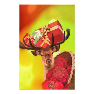 Gifts flowers and deer. stationery