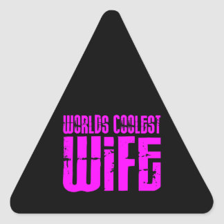 Gifts for Cool Wives Pink Worlds Coolest Wife Triangle Stickers
