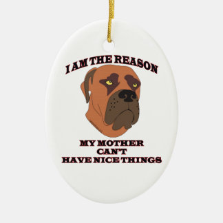 Gifts for people with naughty dogs ceramic ornament